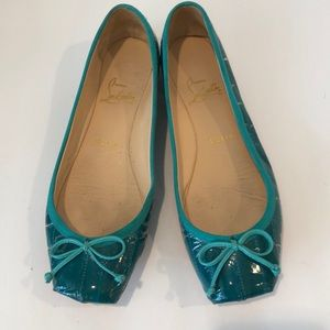 Christian Louboutin turquoise patent flats Sz8 1/2